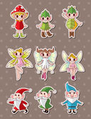 Cartoon little baby fairy stickers — Stock Vector