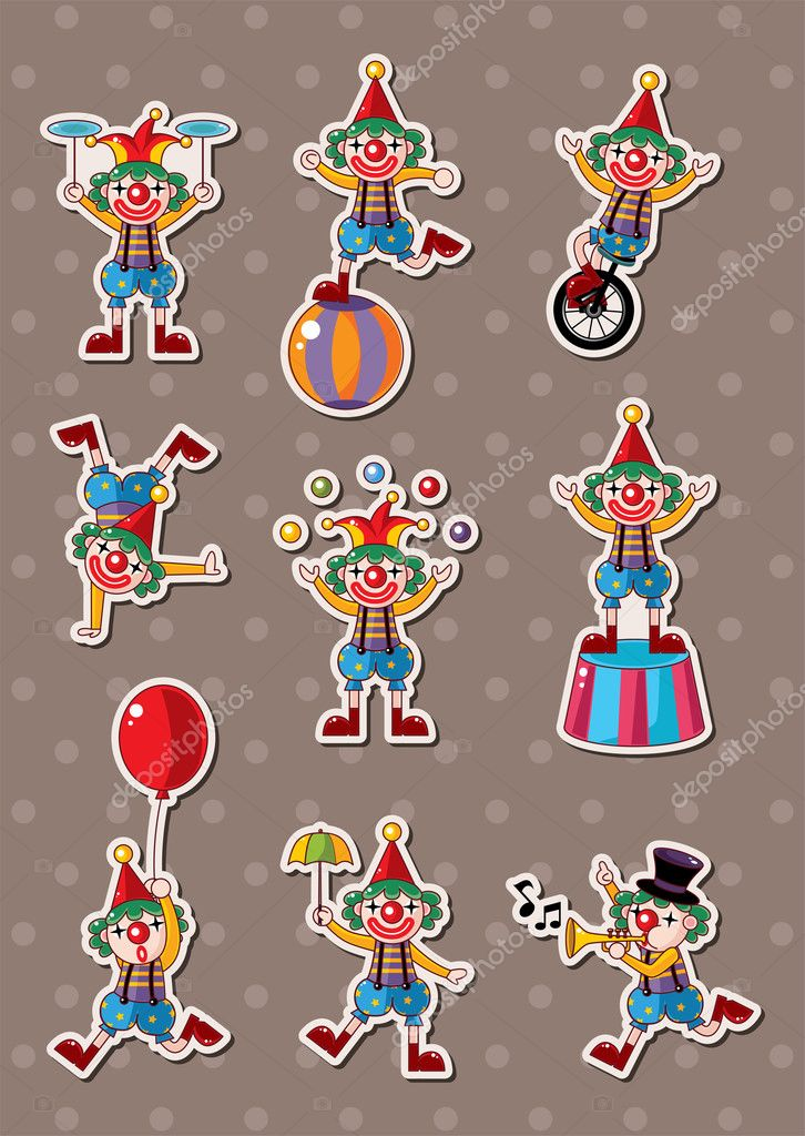 Clown stickers — Stock Vector #13101325