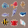 Cartoon fish stickers — Stock Vector