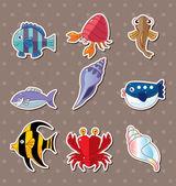 Cartoon fish stickers — Stock Vector