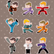 Vector de stock : Cartoon chinese Kung fu stickers