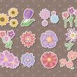 Stock Vector: Cartoon flower stickers