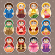 Stock Vector: Russian dolls stickers