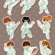 Cartoon Karate Player stickers - Stock Vector