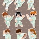 Cartoon Karate Player stickers — Stock Vector #13349569