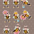 Stock Vector: Cartoon bee boy stickers