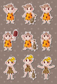 Cartoon Caveman stickers — Stock Vector
