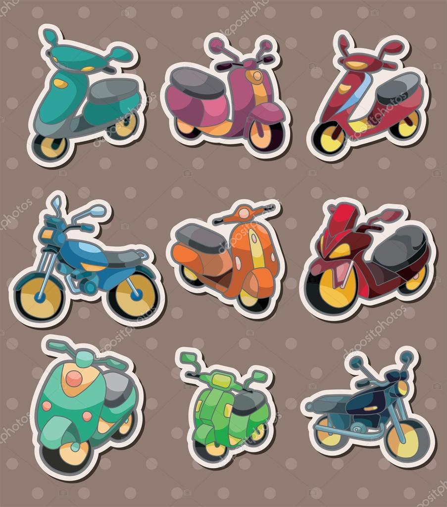 Cartoon motorcycle stickers — Stock Vector #13478583