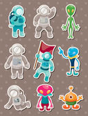 Alien and astronaut stickers — Stock Vector