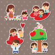 Cartoon family stickers - Image vectorielle