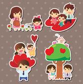 Cartoon family stickers — Stock Vector