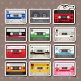 Music Tapes stickers — Stock Vector