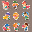 Stock vektor: Kid love stickers