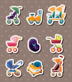 Set of baby carriage stickers — Stock Vector