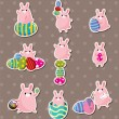 Cartoon easter rabbit and egg stickers — Stock Vector