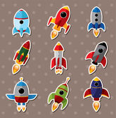 Spaceship stickers — Stok Vektör
