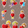 Stock Vector: Kid love stickers