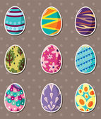 Cartoon Easter egg stickers — Stock Vector