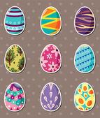 Cartoon Easter egg stickers — Stock Vector