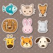 Cute animal face stickers — Stock Vector