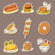 Stock Vector: Fast food stickers draw