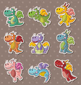 Fire dragon stickers — Vettoriale Stock