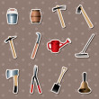 Set of Gardening tools stickers - Stock Vector