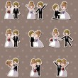 Set of wedding ,Bridegroom and Bride stickers — Stockvektor