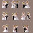 Set of wedding ,Bridegroom and Bride stickers — Imagens vectoriais em stock