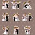 uppsättning av bröllop, brudgummen och bruden klistermärken — Stockvektor