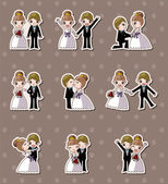 Set of wedding ,Bridegroom and Bride stickers — Stok Vektör