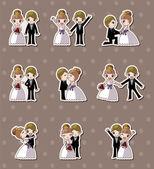 Set van huwelijk, de bruidegom en de bruid stickers — Stockvector