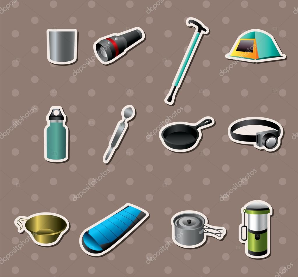 Camping tools stickers — Stock Vector #14324353