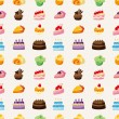 Cake pattern seamless — Stock Vector
