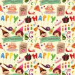 Seamless birthday pattern - Stock Vector