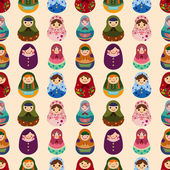 Seamless Russian doll pattern — Stock Vector