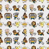 Seamless animal soccer pattern — Stock Vector