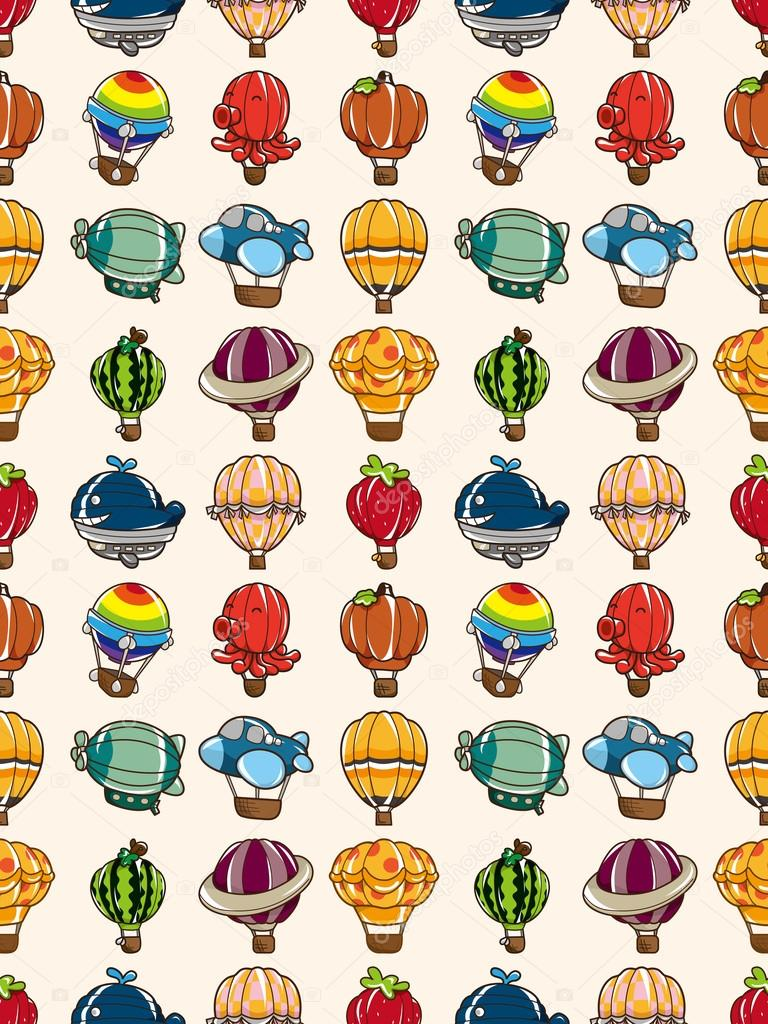 无缝热气球图案, 卡通矢量图