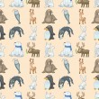 Seamless winter animal pattern — Stock Vector #16885289