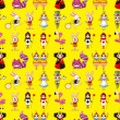 Постер, плакат: Seamless Alice in Wonderland pattern