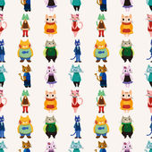 Sweet cat family seamless pattern — Stock Vector