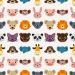Seamless animal face pattern — Stock Vector #19040175