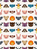 Seamless animal face pattern — Stock Vector