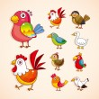 Cartoon vogel pictogrammenset — Stockvector