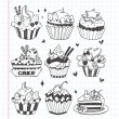 Royalty-Free Stock Vectorielle: Doodle cupcake set