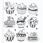 Doodle cupcake set — Stock Vector #19911215