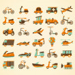 Cтоковый вектор: Retro transport icons set