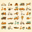 Retro transport icons set — Stock Vector