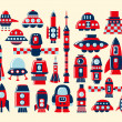 Retro rocket icons set element - Vettoriali Stock