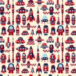 Stock Vector: Retro seamless rocket pattern